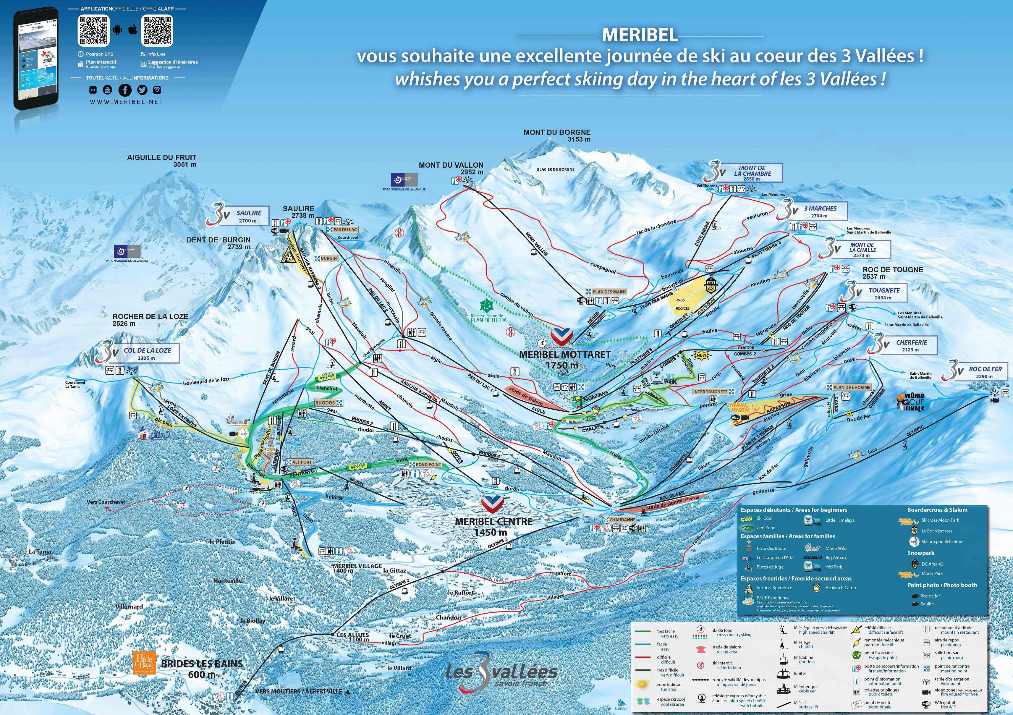 Brides les bains plan des pistes de ski brides les bains for Les bains de