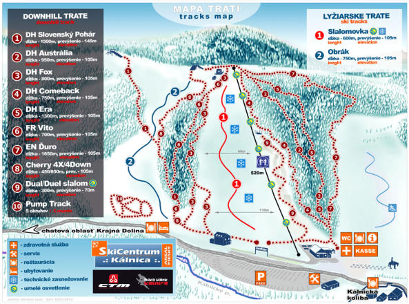 Ski centrum Kalnica Piste Map