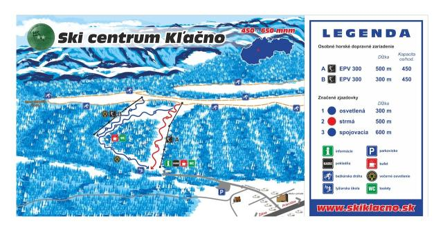 Skicentrum Kľačno Piste Map