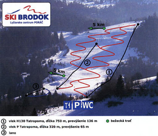 Poráč Brodok Trail Map
