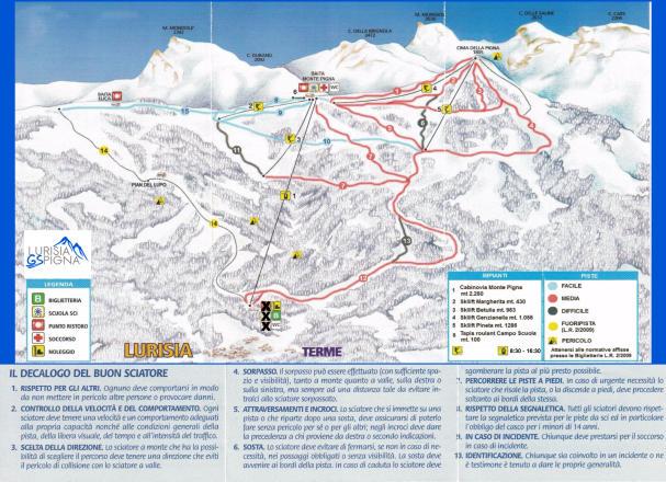 Lurisia - Monte Pigna Pistenplan