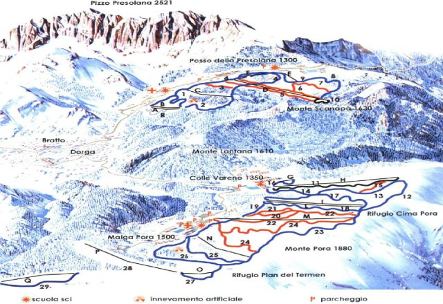 Presolana / Monte Pora Piste Map