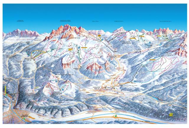 Obereggen - Ski Center Latemar Plan des pistes