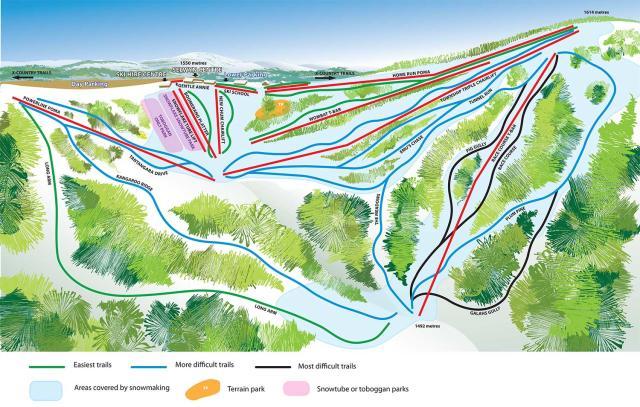 Selwyn Snowfields Mapa tras