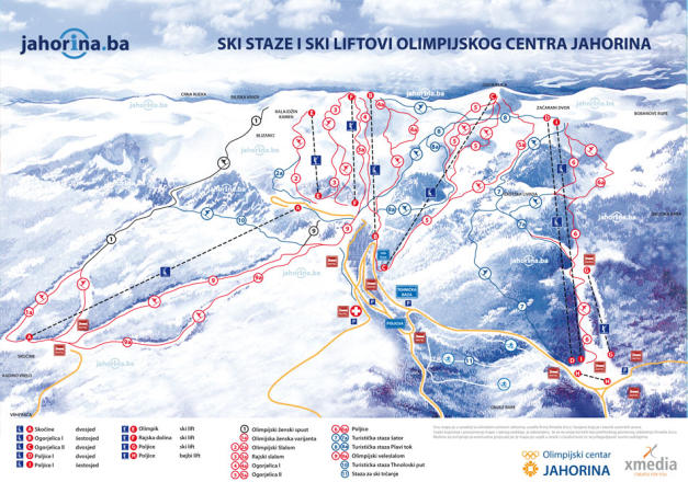 Mount Jahorina Trail Map