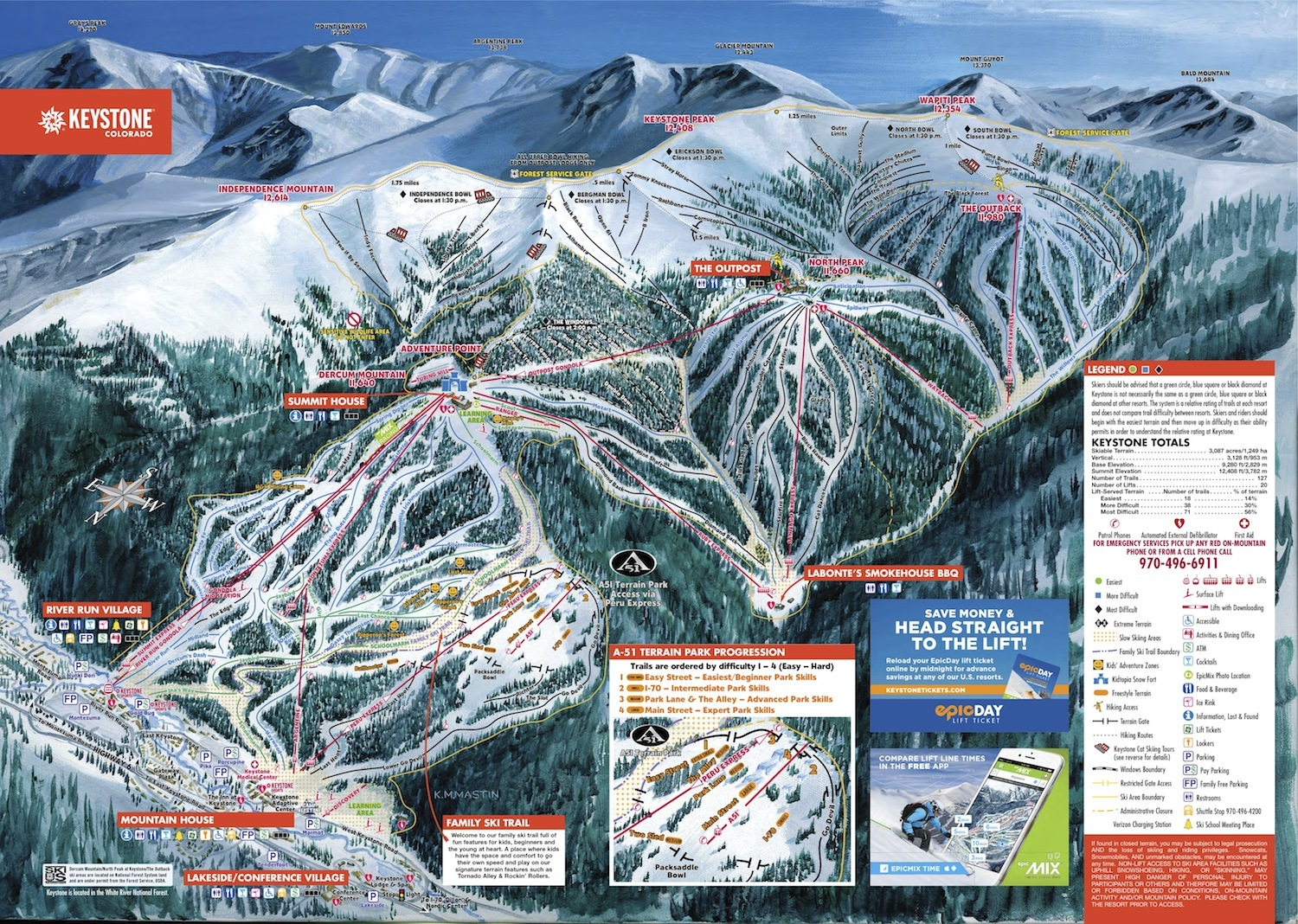 Keystone Mountain Stats  Info OnTheSnow - Map of colorado ski resorts and cities
