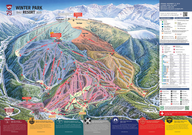 Winter Park Resort Mapa tras