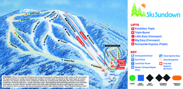 Ski Sundown Mapa tras