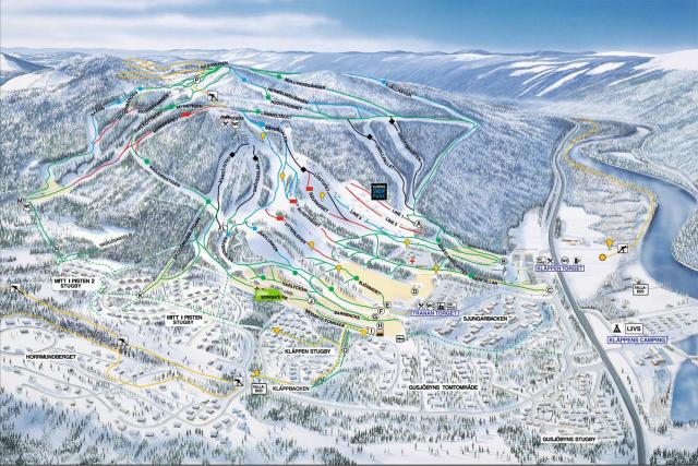 Kläppen Ski Resort Trail Map