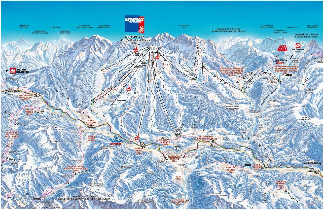 Plan de corones mappa delle piste da sci a plan de corones