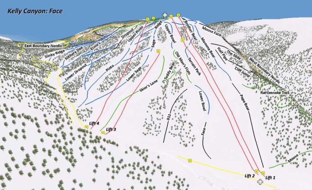 Kelly Canyon Ski Area Mapa tras