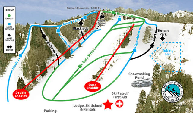 Mt. Crescent Ski Area Piste Map