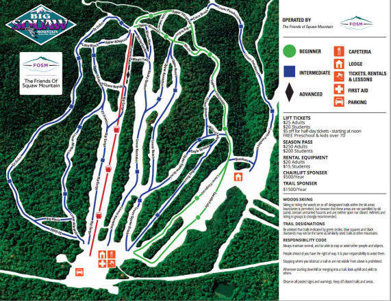 Big Squaw Mountain Ski Resort Trail Map