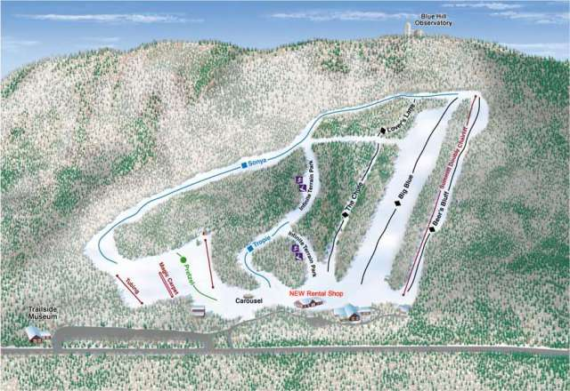 Blue Hills Ski Area Piste Map