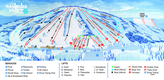 Nashoba Valley Piste Map