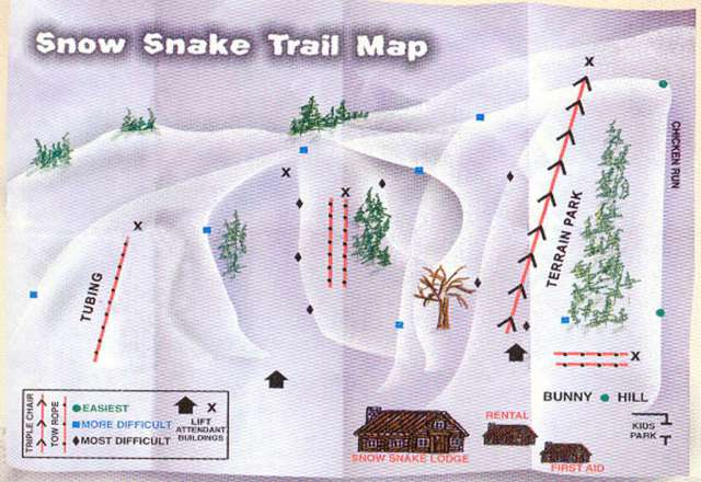 Snow Snake Mountain Ski Area Mapa zjazdoviek