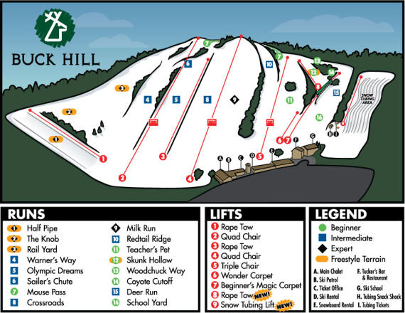 Buck Hill Piste Map