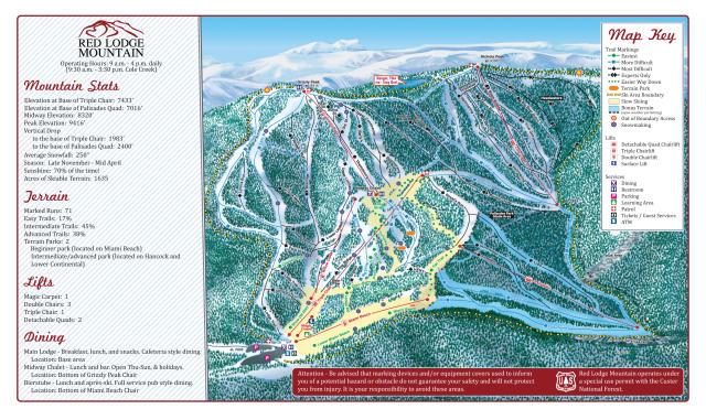 Red Lodge Mountain Mapa tras
