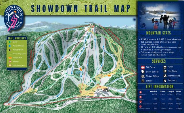 Showdown Montana Piste Map