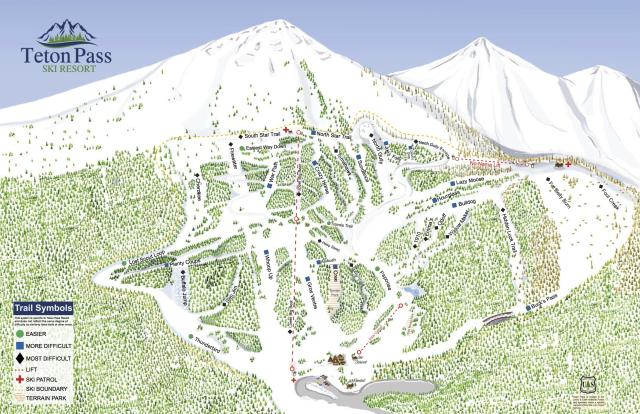 Teton Pass Ski Resort Trail Map