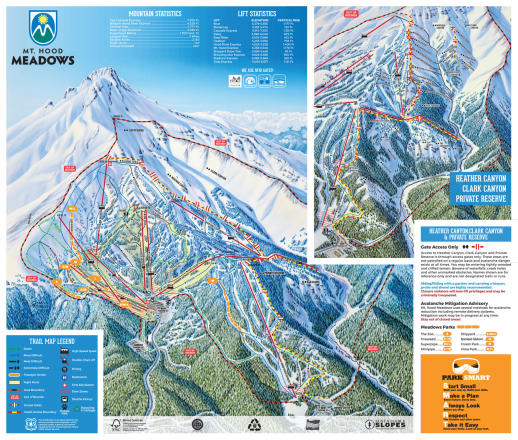 Mt. Hood Meadows Plan des pistes