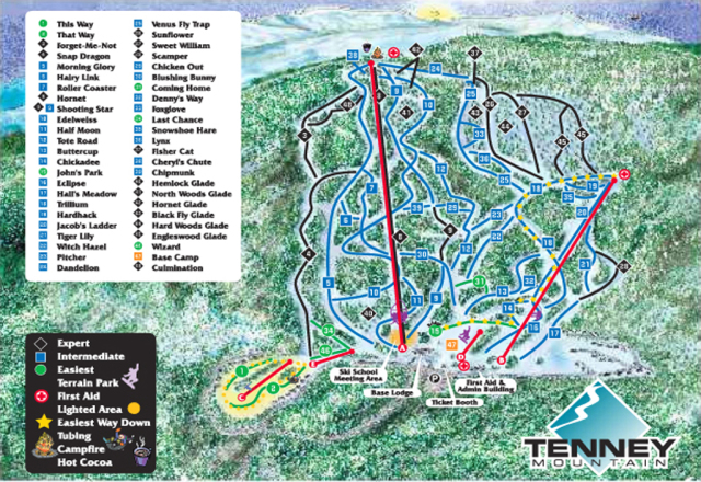 Tenney Mountain Plan des pistes