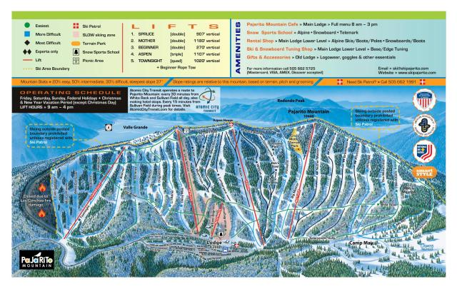 Pajarito Mountain Ski Area Plan des pistes