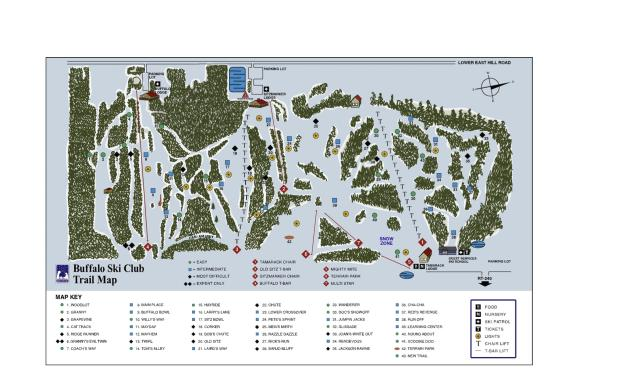 Buffalo Ski Club Ski Area Plan des pistes