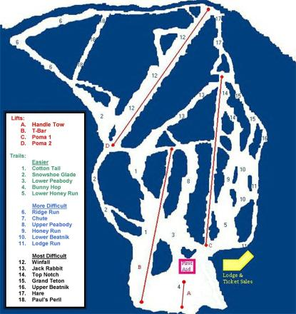 Hickory Ski Center Trail Map