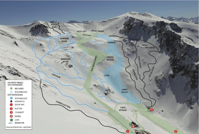 Ohau Snow Fields Mapa tras