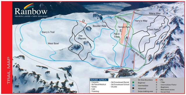 Rainbow Ski Area Piste Map