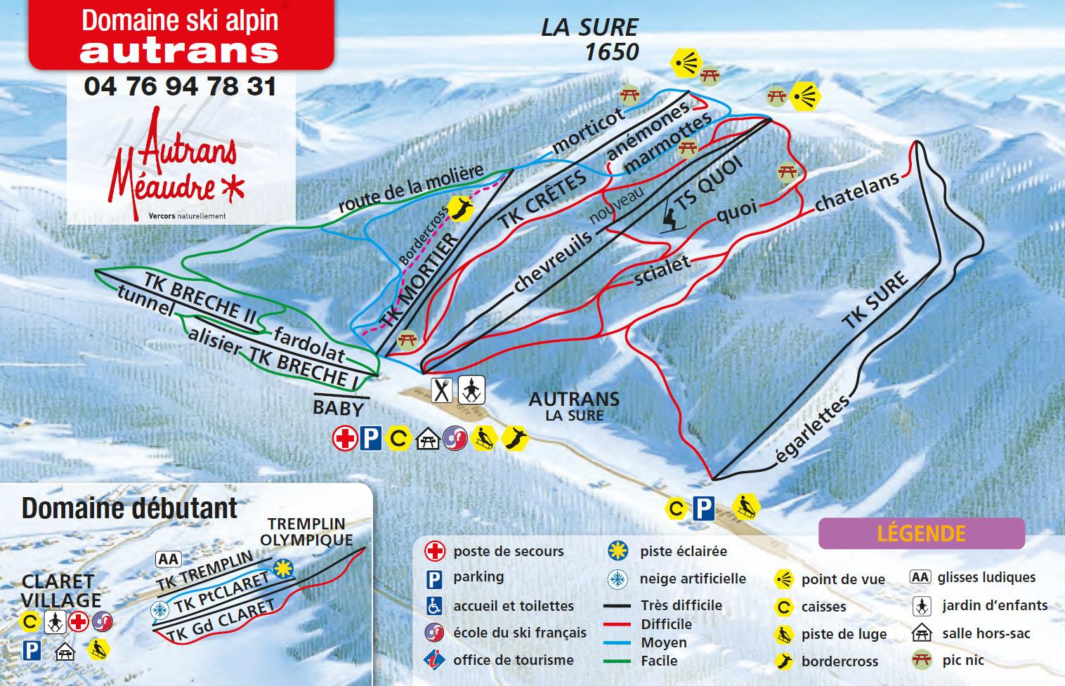 Autrans plan des pistes de ski autrans for Piste de ski interieur