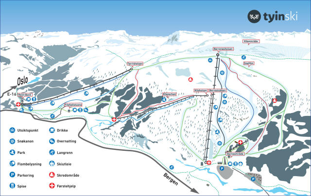 Tyin - Filefjell Piste Map