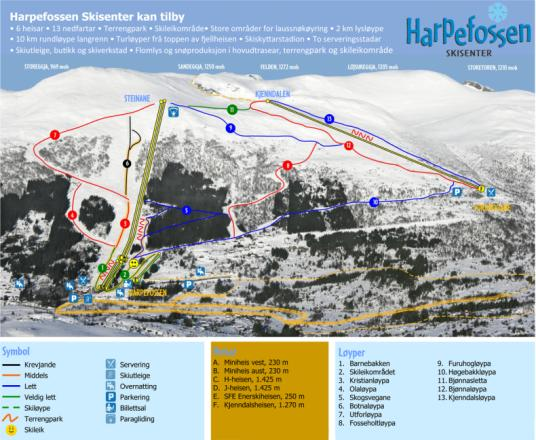 Harpefossen Trail Map