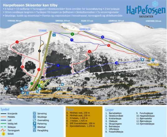 Harpefossen Plan des pistes