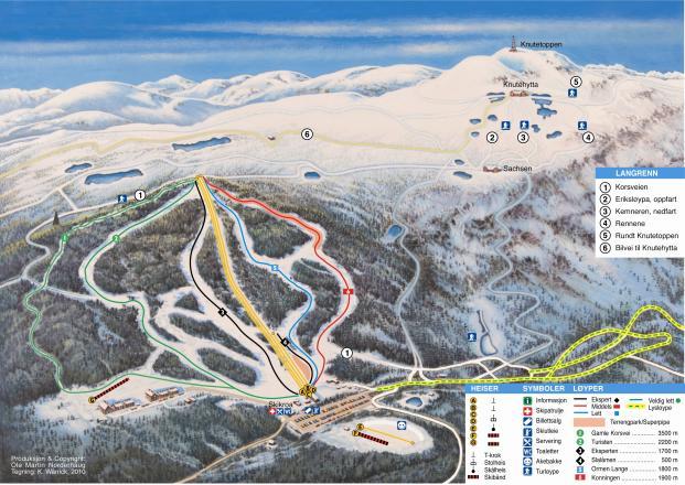 Kongsberg Skisenter Mapa zjazdoviek