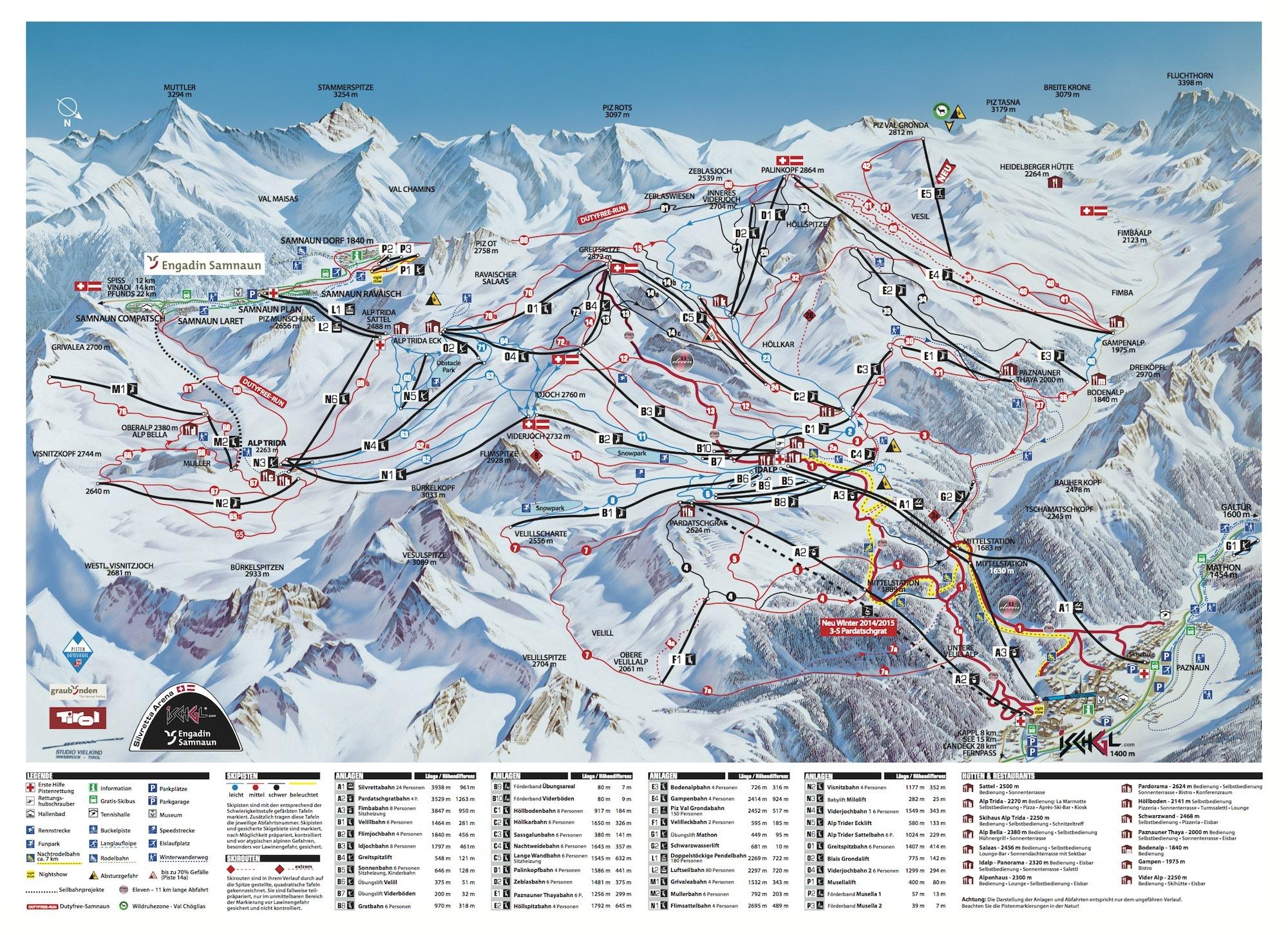 Отдых зимой - Австрия, карта горнолыжных трасс.