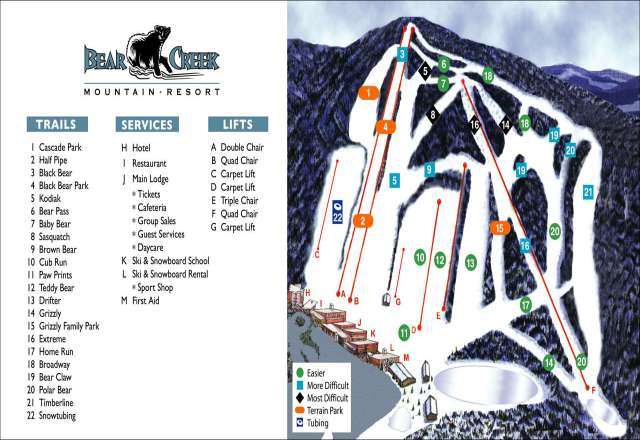 Bear Creek Mountain Resort Mapa zjazdoviek