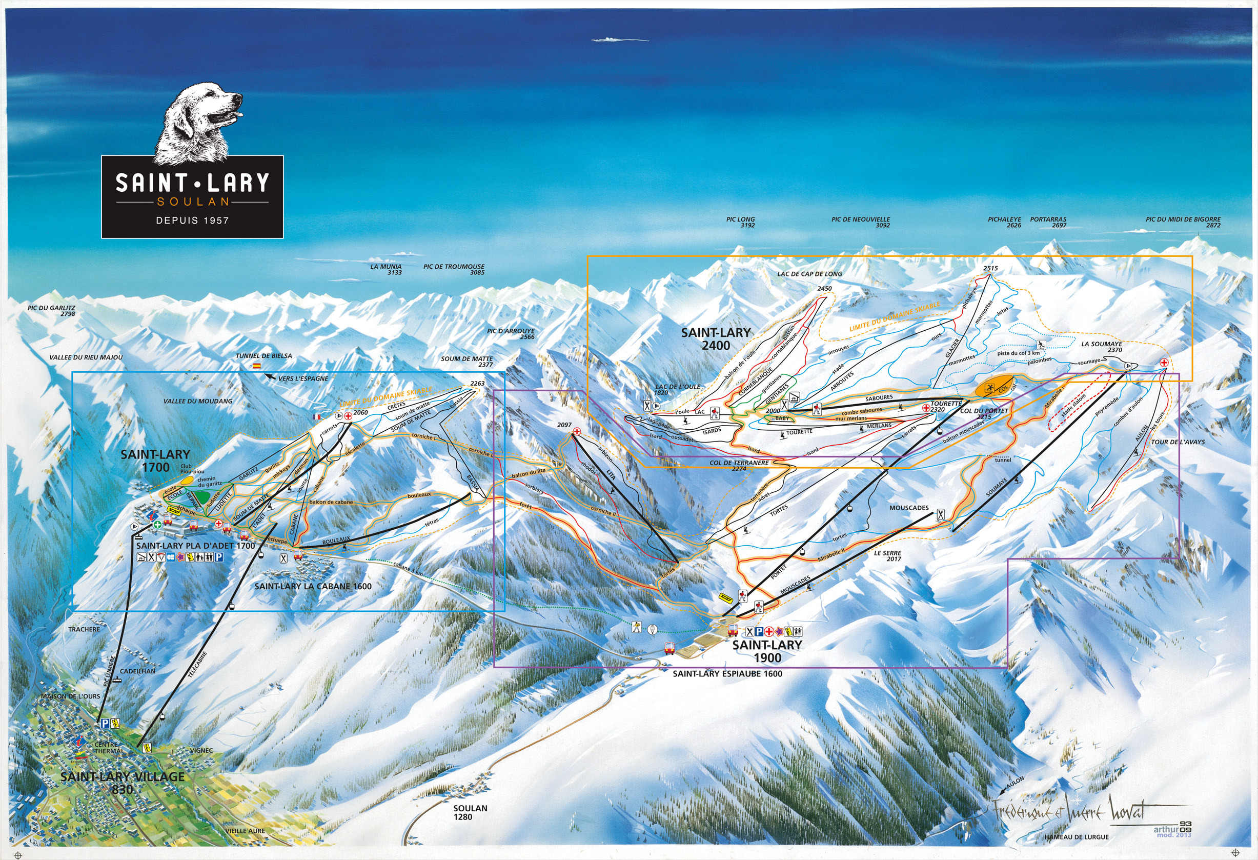 Saint-Lary-Soulan France  city photo : Saint Lary Soulan Piste Map | Plan of ski slopes and lifts | OnTheSnow