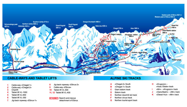Mt Elbrus Trail Map