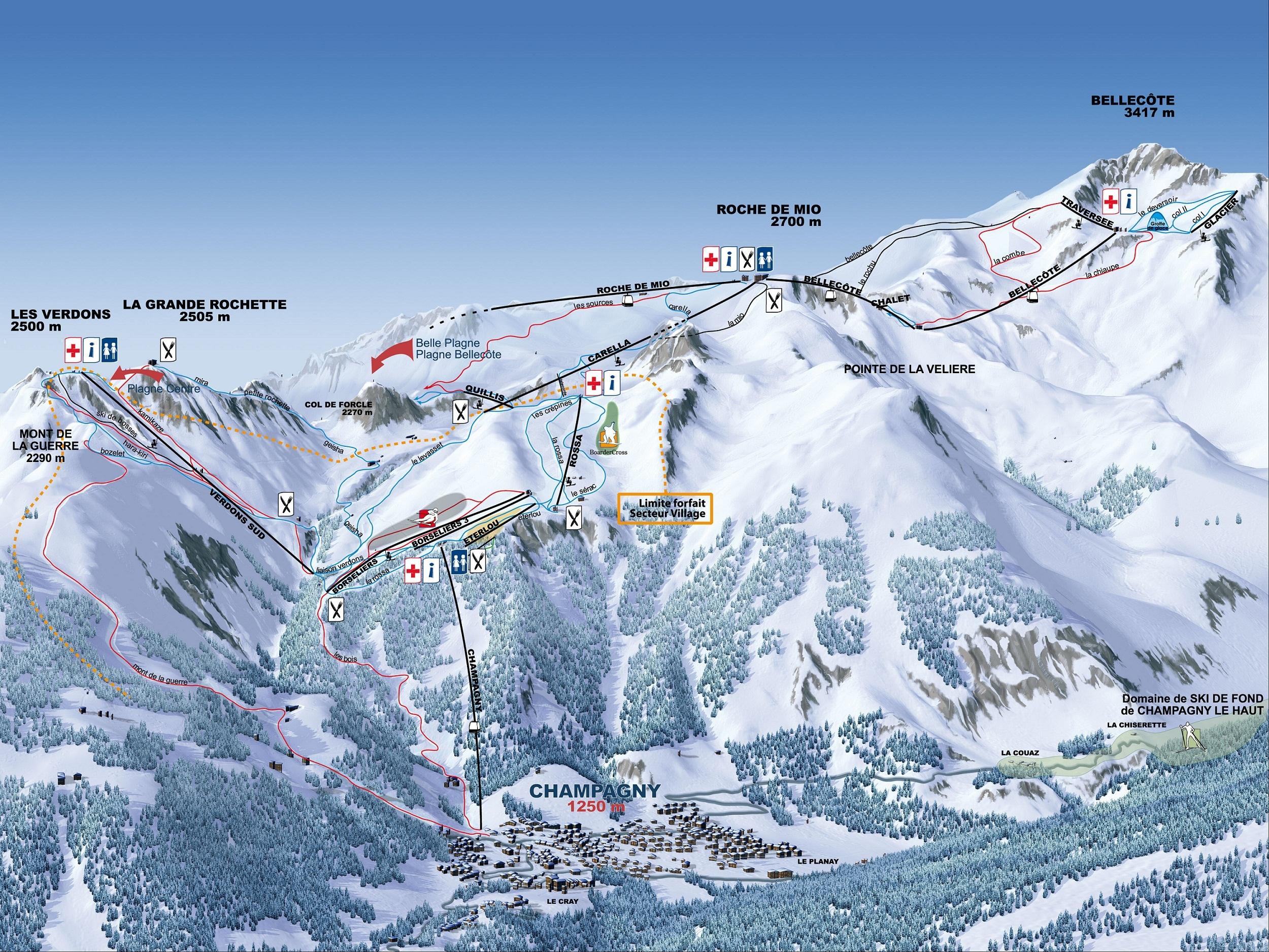 Champagny en Vanoise Ski Champagny en Vanoise Plan Des