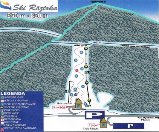 Ski Ráztoka - Horná Mariková Piste Map