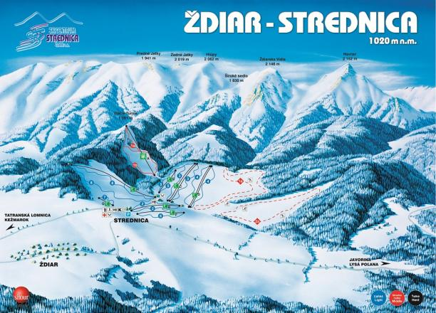 Ždiar - Strednica Trail Map