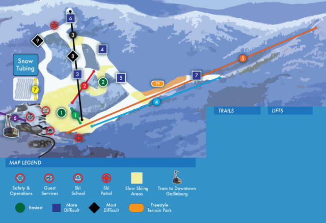 Ober Gatlinburg Ski Resort Plan des pistes