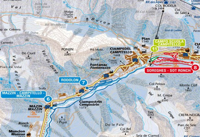 Campitello di Fassa - Col Rodella - Sellajoch Piste Map