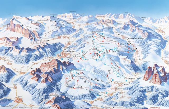 Comprensorio Ski Civetta Trail Map