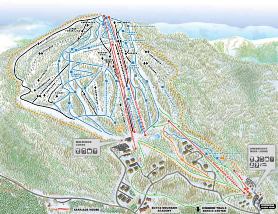 Q Burke Mountain Resorts Mapa tras