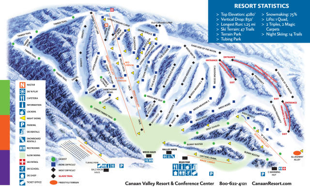 Canaan Valley Resort Piste Map