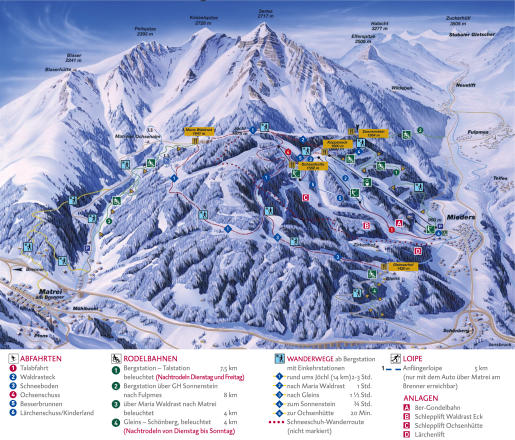 Serlesbahnen - Mieders Piste Map