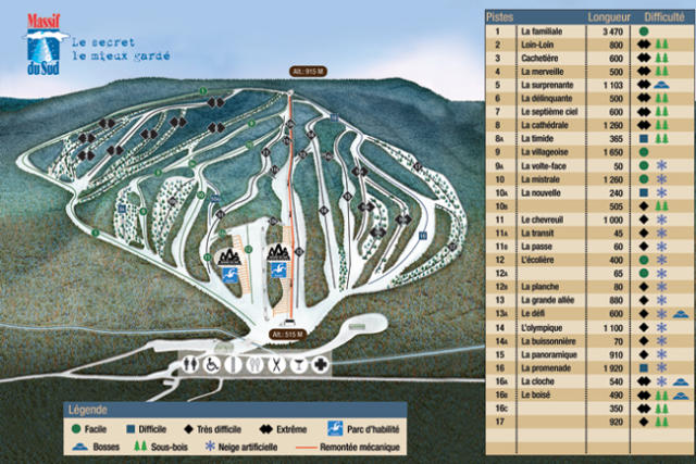 Massif du Sud Trail Map
